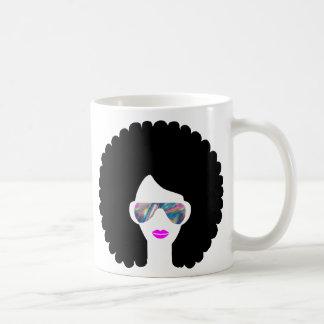 Caneca De Café menina do afro do holograma