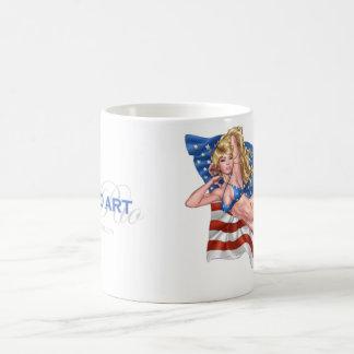 Caneca De Café Menina do Pinup do biquini da bandeira americana