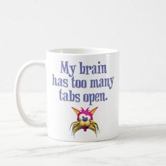 """Caneca De Café """"Meu cérebro tem engraçado aberto demais das abas"""""""