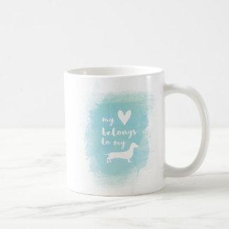 Caneca De Café Meu coração pertence a meu watercolo da caligrafia