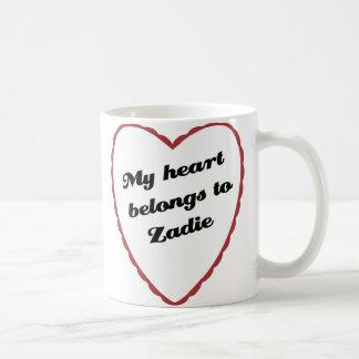 Caneca De Café Meu coração pertence a Zadie