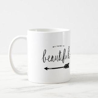 Caneca De Café Meu tribo é na moda bonito Mão-Indicado por letras