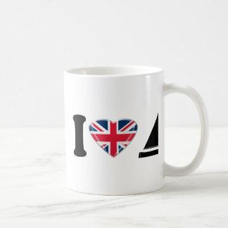 Caneca De Café Mim barcos de vela do coração com Union Jack
