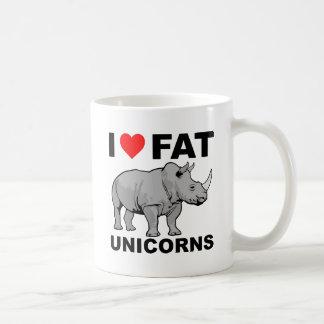 Caneca De Café Mim do rinoceronte gordo do unicórnio do coração