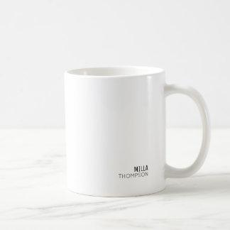 Caneca De Café mínimo do branco elegante do estilo minimalista