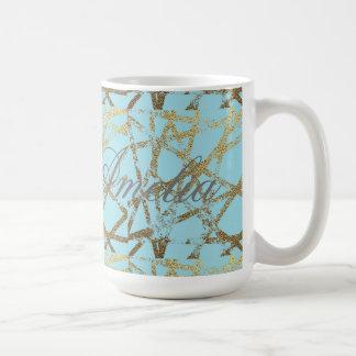 Caneca De Café Moderno, abstrato, pintado mão, o ouro alinha a