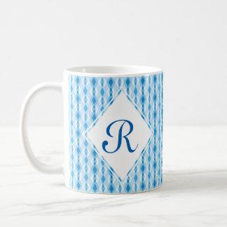 Caneca De Café Monograma azul do diamante