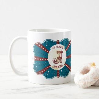"""Caneca De Café Monograma branco e azul vermelho """"J """" do circo do"""