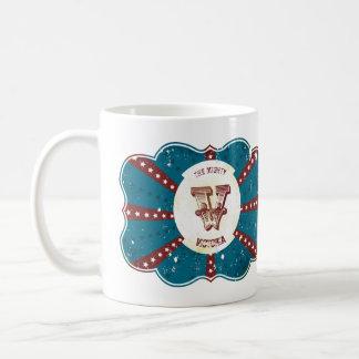 """Caneca De Café Monograma branco e azul vermelho """"V """" do circo do"""