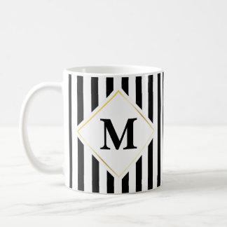 Caneca De Café Monograma branco preto da listra