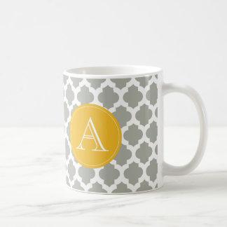 Caneca De Café Monograma cinzento & branco do amarelo da mostarda