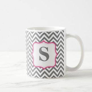 Caneca De Café Monograma cinzento do rosa do ziguezague de