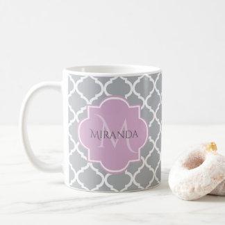 Caneca De Café Monograma cinzento feminino e nome da lavanda de