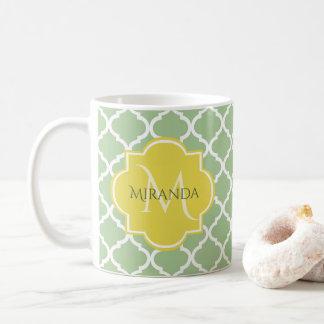 Caneca De Café Monograma conhecido amarelo verde Pastel chique de