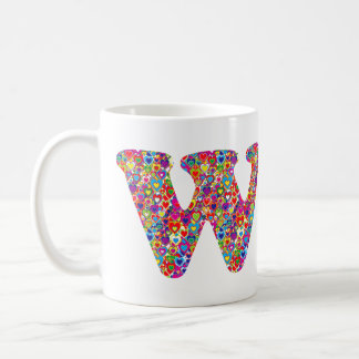 Caneca De Café Monograma enchido de W do divertimento coração
