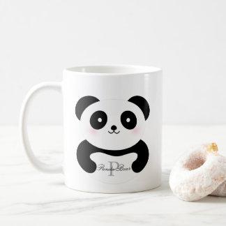 Caneca De Café Monograma feminino bonito do urso de panda do bebê