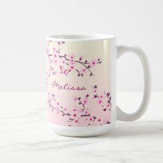 Caneca De Café Monograma floral das flores de cerejeira