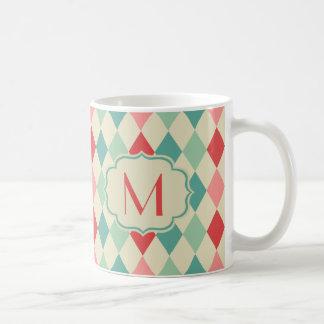 Caneca De Café Monograma geométrico do teste padrão do Harlequin