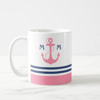Caneca De Café Monograma náutico cor-de-rosa