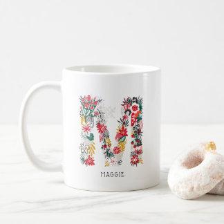 Caneca De Café Monograma que floral lunático da letra da letra M