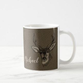 Caneca De Café Monograma rústico do nome   da cabeça dos cervos