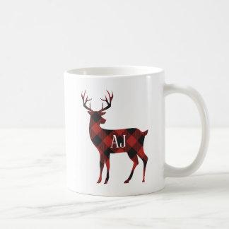 Caneca De Café Monograma vermelho do veado da xadrez do búfalo