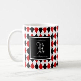 Caneca De Café Monograma vermelho e preto do teste padrão do