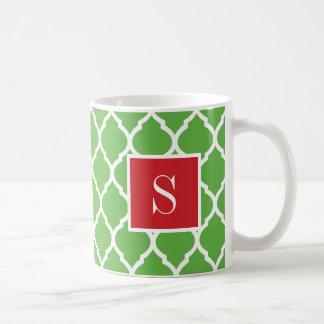 Caneca De Café Monograma vermelho e verde de Quatrefoil