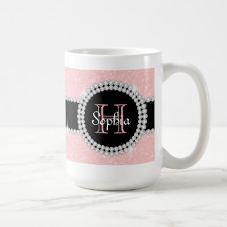 Caneca de café Monogrammed do brilho Pastel do