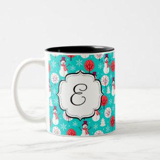 Caneca de café Monogrammed do chá do floco de neve