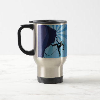 Caneca de café morna de montanhista de gelo da