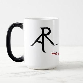 Caneca de café morphing do logotipo oblíquo da
