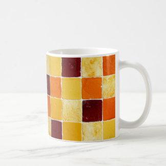 Caneca De Café mug mosaico alaranjado