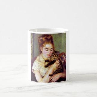 Caneca De Café Mulher com gato, Auguste Renoir
