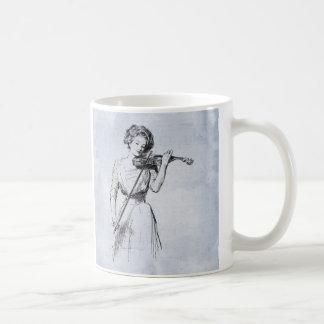 Caneca De Café Mulher que joga a ilustração do vintage do violino