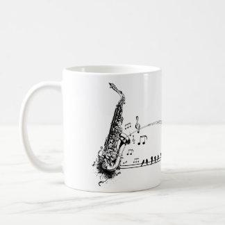 Caneca De Café Música & melros do saxofone do ~ do saxofone