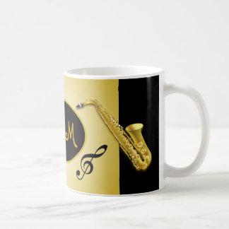 Caneca de café musical do instrumento do saxofone