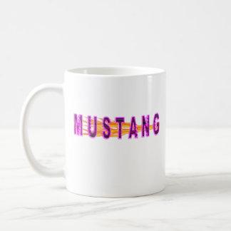 Caneca De Café Mustang e chamas cor-de-rosa de néon