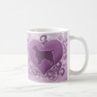 Caneca De Café Namorados roxos do Spaniel de galês Springer