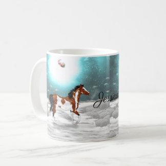Caneca De Café Natal árabe do cavalo do Pinto