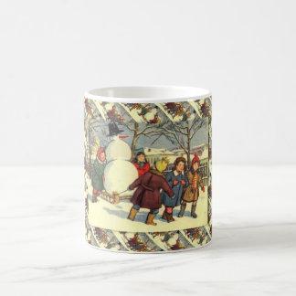 Caneca De Café Natal do russo do vintage, trazendo em casa um