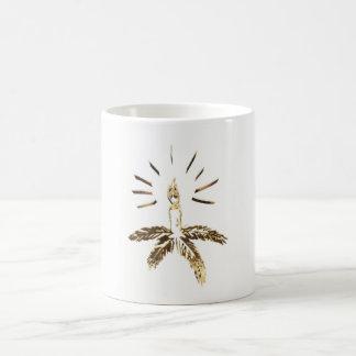Caneca De Café Natal elegante do castiçal do olhar do ouro