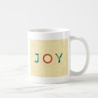 Caneca De Café Natal moderno 'Joy do fundo de creme