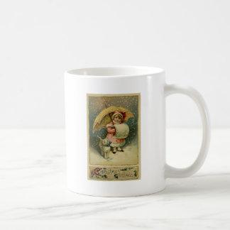Caneca De Café Natal retro da criança e do gato do vintage do