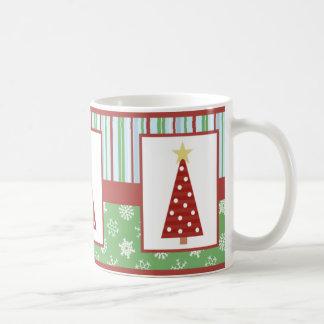 Caneca De Café Natal vermelho da árvore das bolinhas do feriado