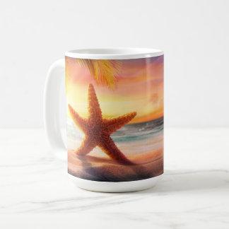 Caneca De Café Náutico - estrela do mar & por do sol