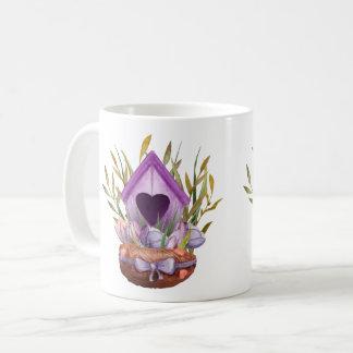 Caneca De Café Ninho bonito do primavera da aguarela