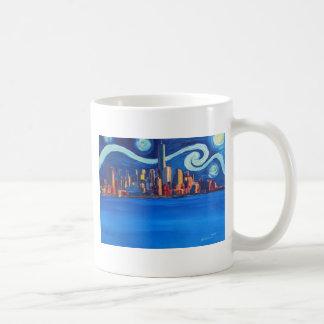 Caneca De Café Noite estrelado na Nova Iorque - torre da