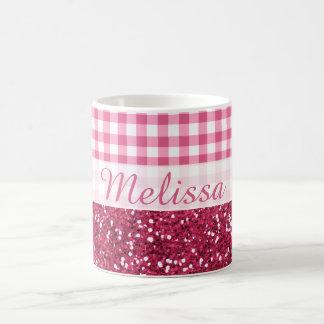 Caneca De Café Nome cor-de-rosa do costume da verificação do