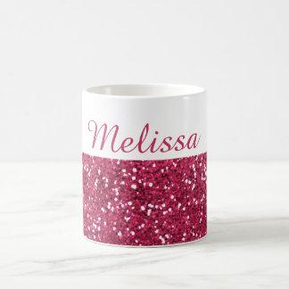 Caneca De Café Nome cor-de-rosa Glam do costume do brilho
